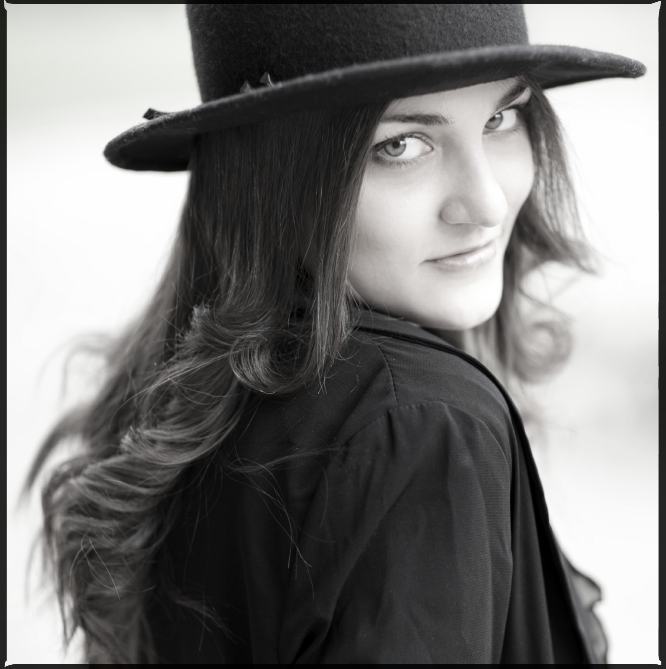 Girl wears top hat   top hat, black & white, long haired, blur