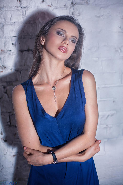 Sexy gitl in blue dress | girl, shadow, brickwall, blue dress