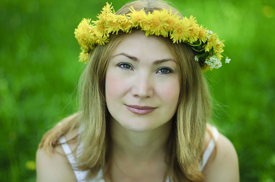 Girl with floral wreath  | floral wreath, girl, dandelion, spring