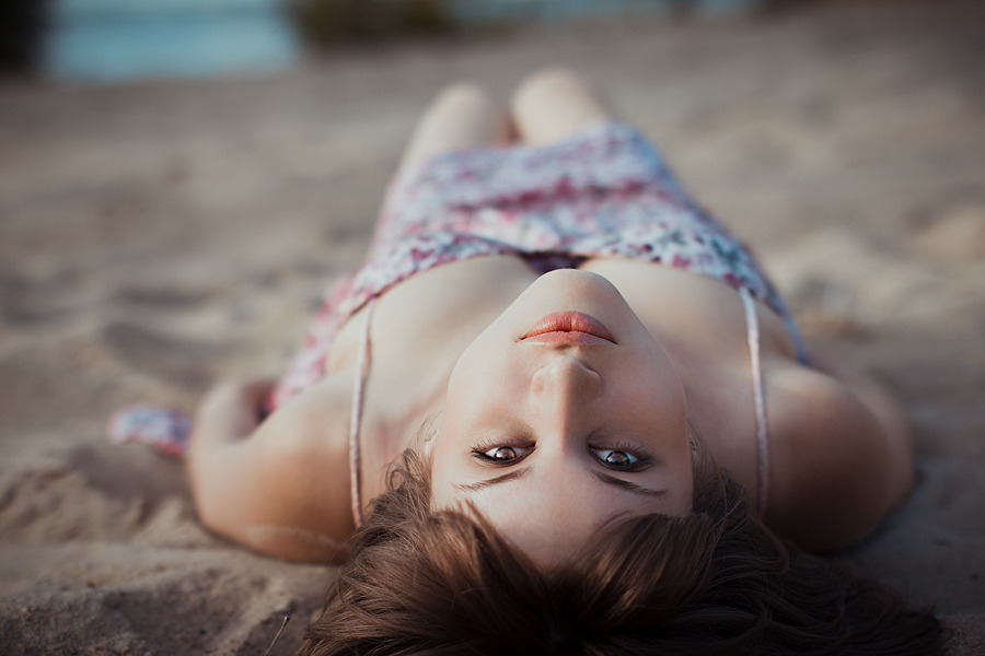 Lying on a beach | girl, beach, sea, sand