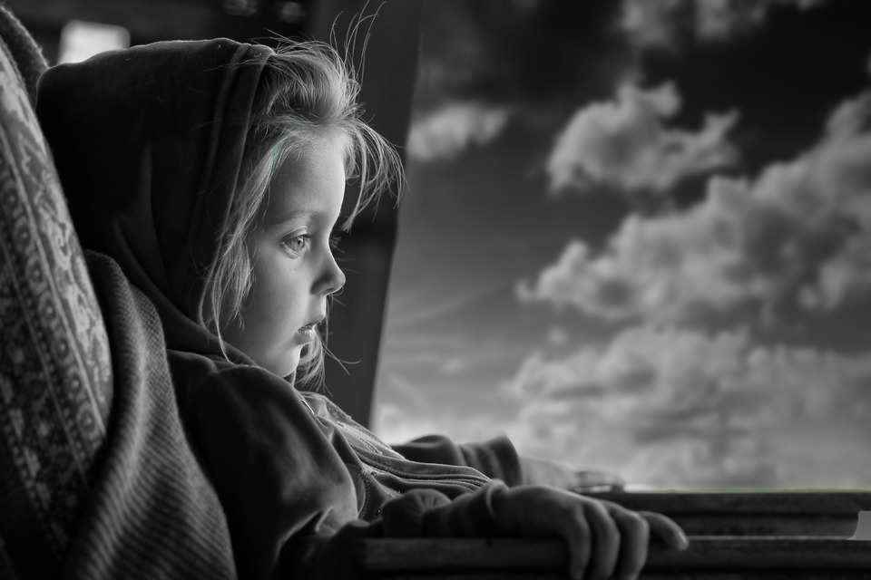 Child travels alone | black and white, child, bus, sky