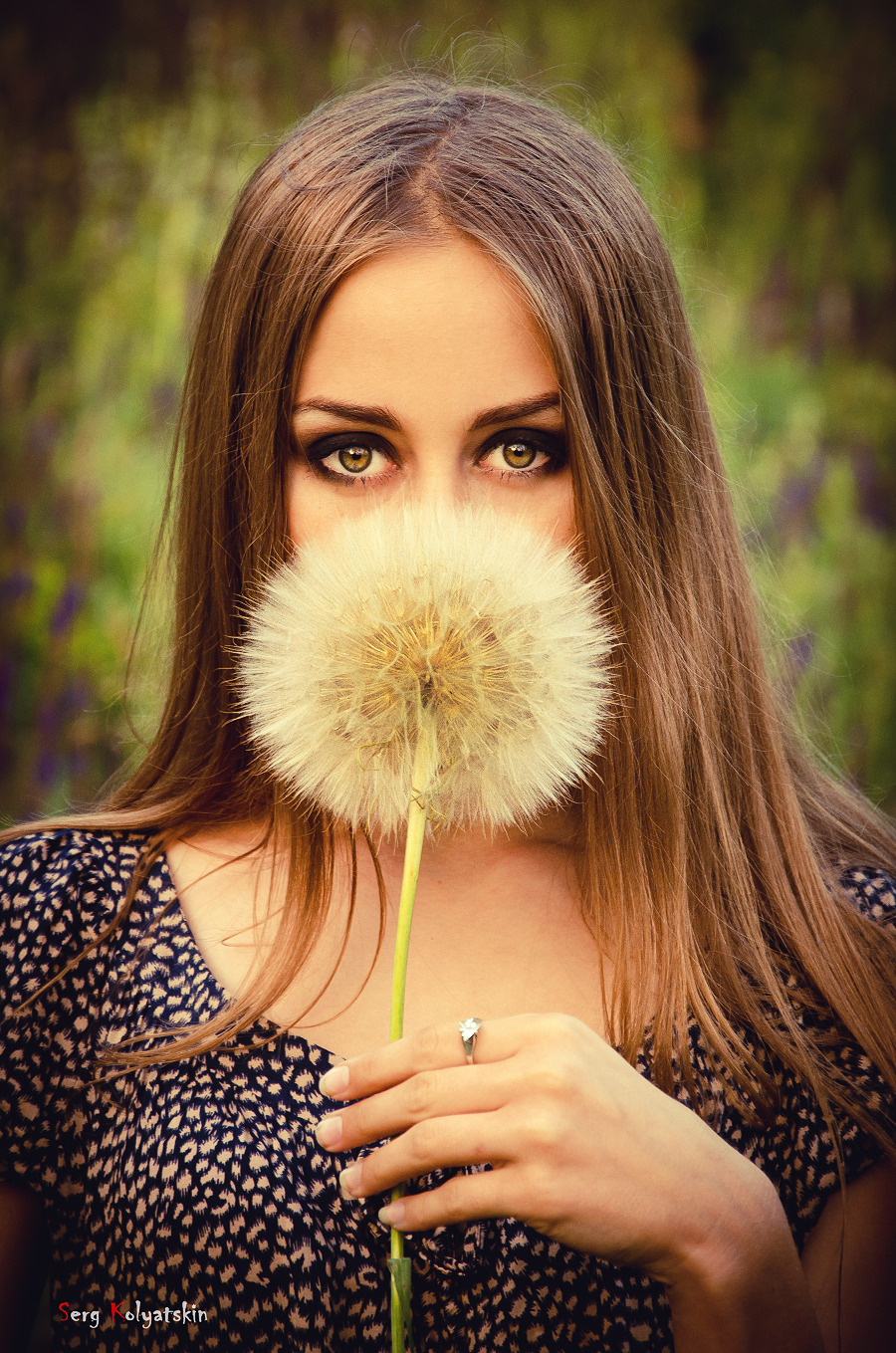 Huge dandelion | dandelion, girl, long-haired, country