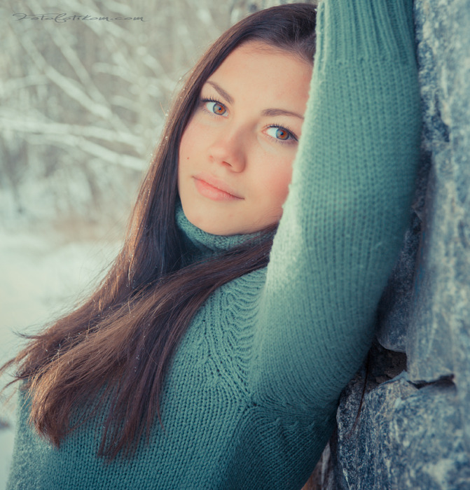 Grandmother was here | young girl, pink cheeks, brown eyes, winter