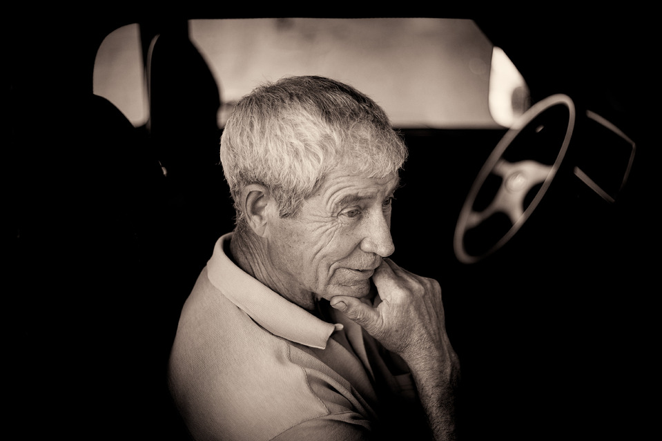 Not a driver | Lada, old man, black & white, car