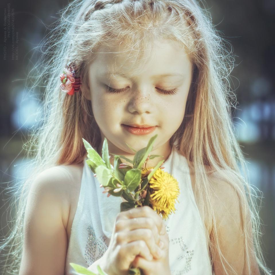 Girl with dandelions | child, dandelion, spring, flowers