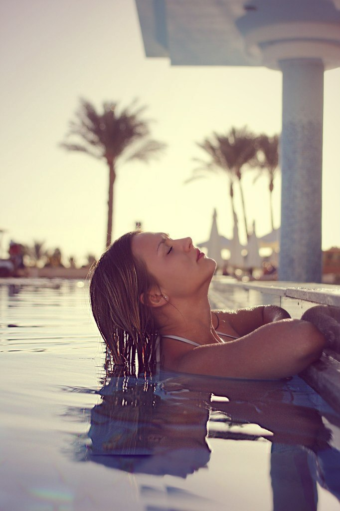 In the swimming pool | swimming pool, wet model, water, palm