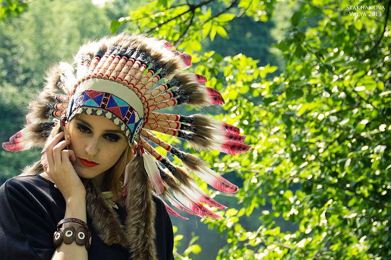 Modern indian girl   indian girl, garden, summer, feathers