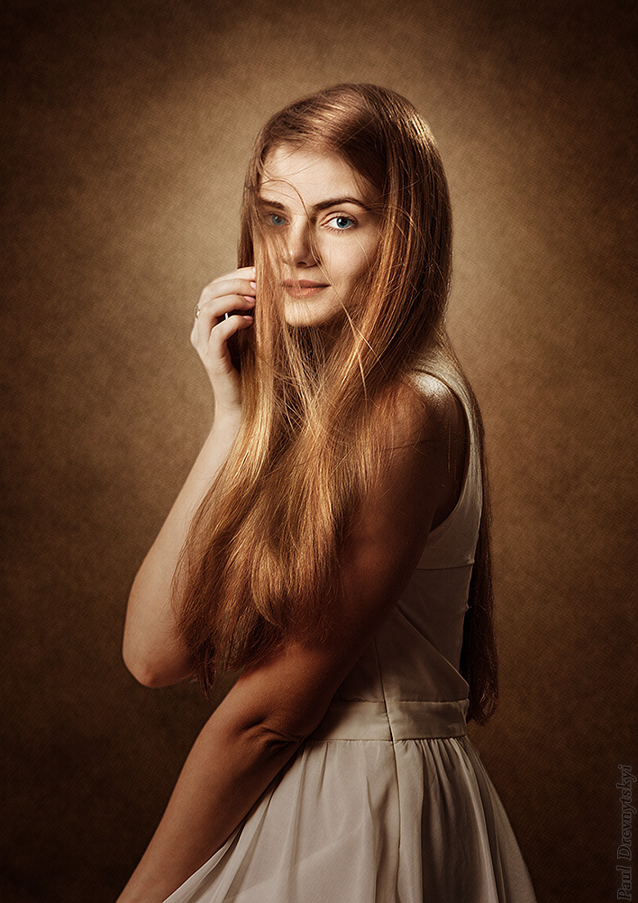 Portrait of a pretty girl | redhead, portrait, brown, white dress