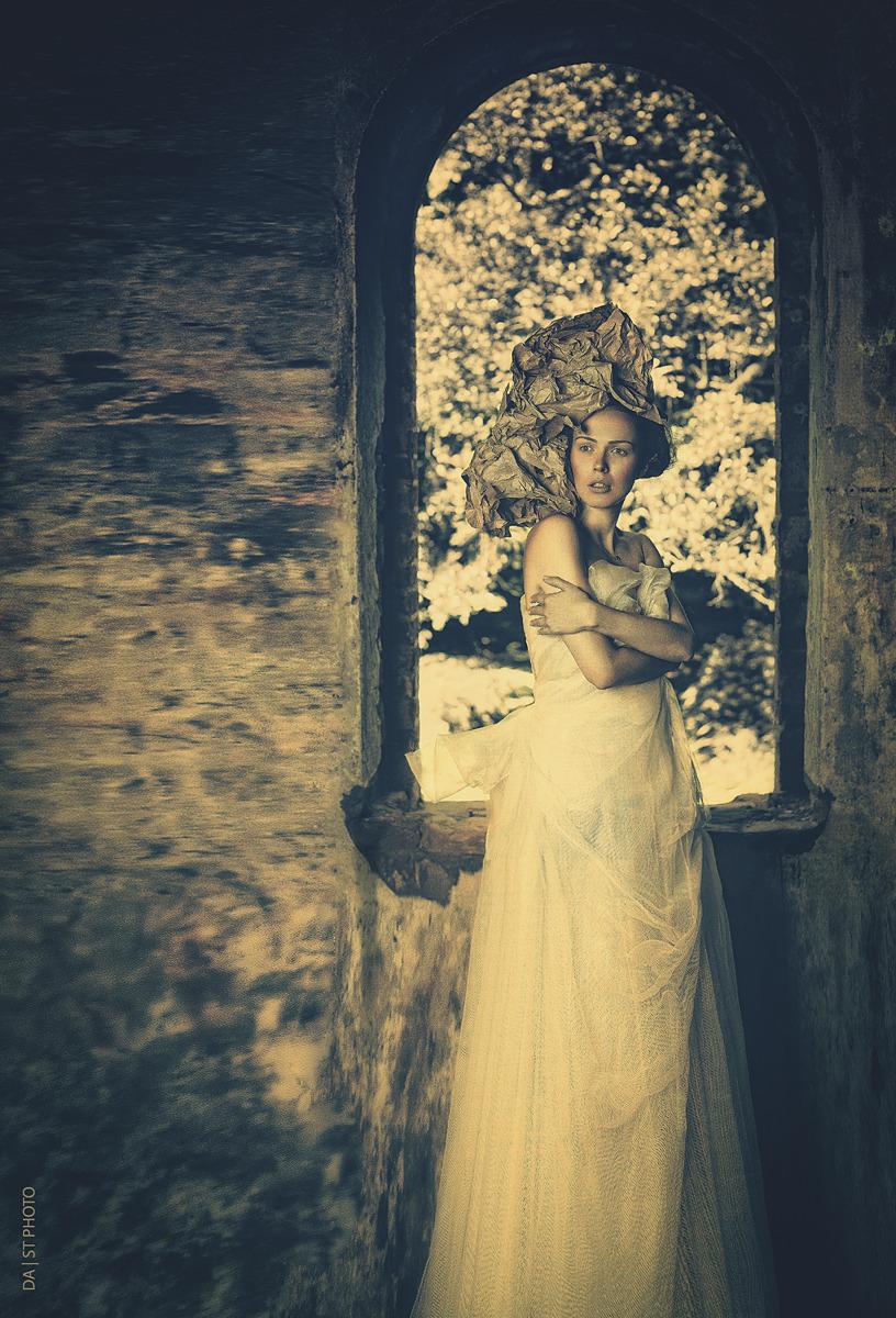 Woman on the castle | castle, wedding gown, window, brickwall
