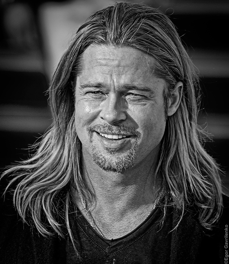 Brad pitt portrait photos for Black and white pictures of celebrities