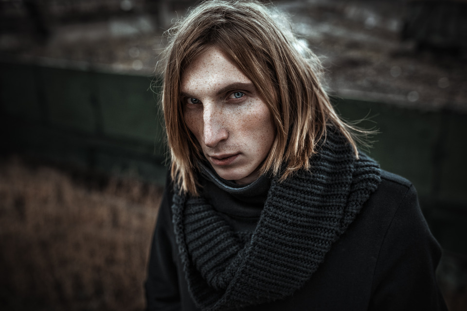 Long haired man | long hair, man, environmental portrait, close-up