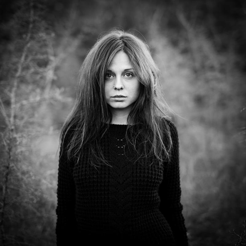 Black and white portrait of the model olga portrait model genre