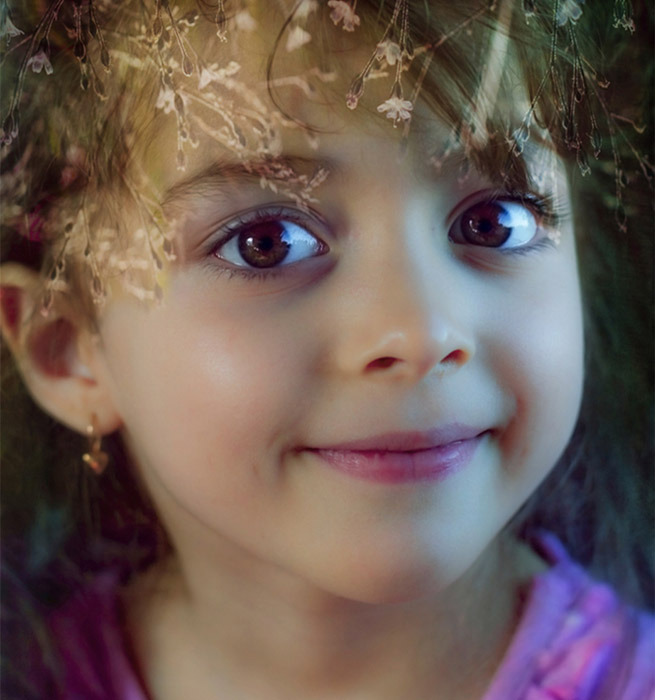 Little girl with a charming smile | portrait, model, girl, sparkling eyes, charming smile, face, big eyes, brown, little, flowers