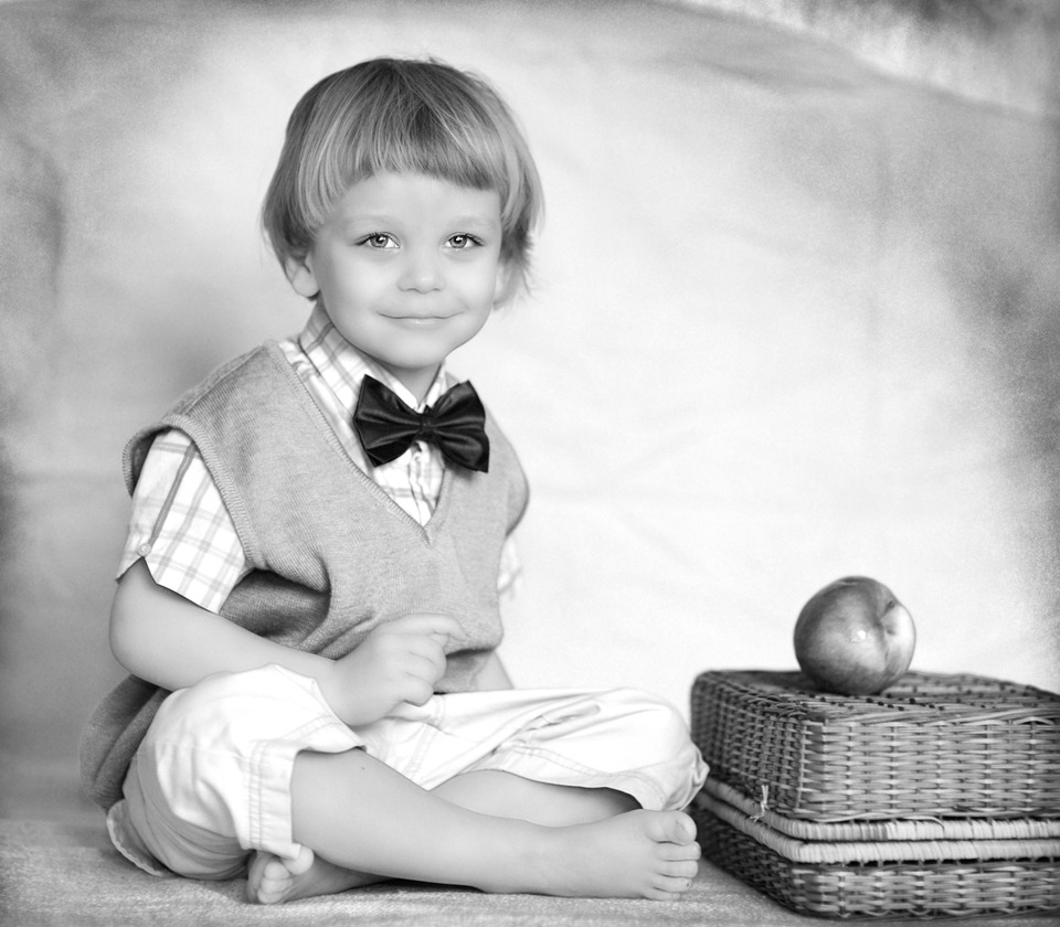 Cute little boy | portrait, model, child, boy, bow tie, apple, smile, basket, vest