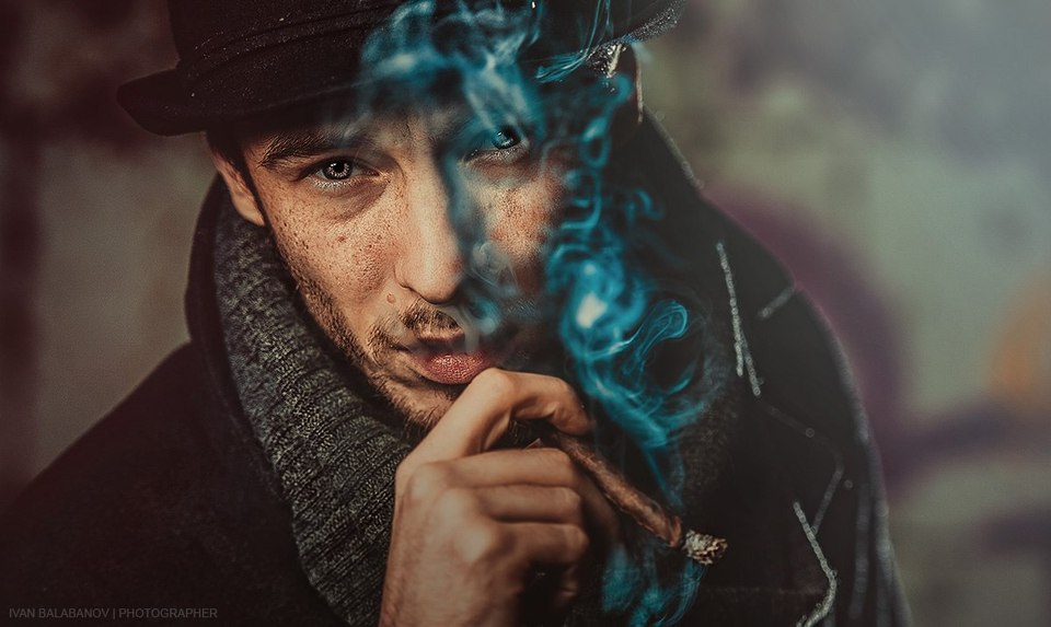 Man in hat smoking cigar  | smog, cigar, bristle, top hat, nicotine