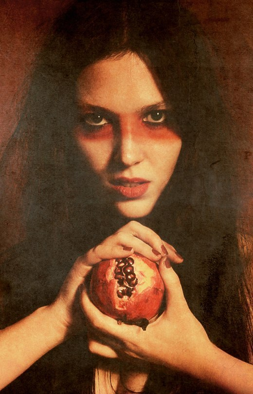 Woman with a pomegranate in the hands | portrait, model, woman, brunette, long hair , face, nails , fruit, pomegranate, picture