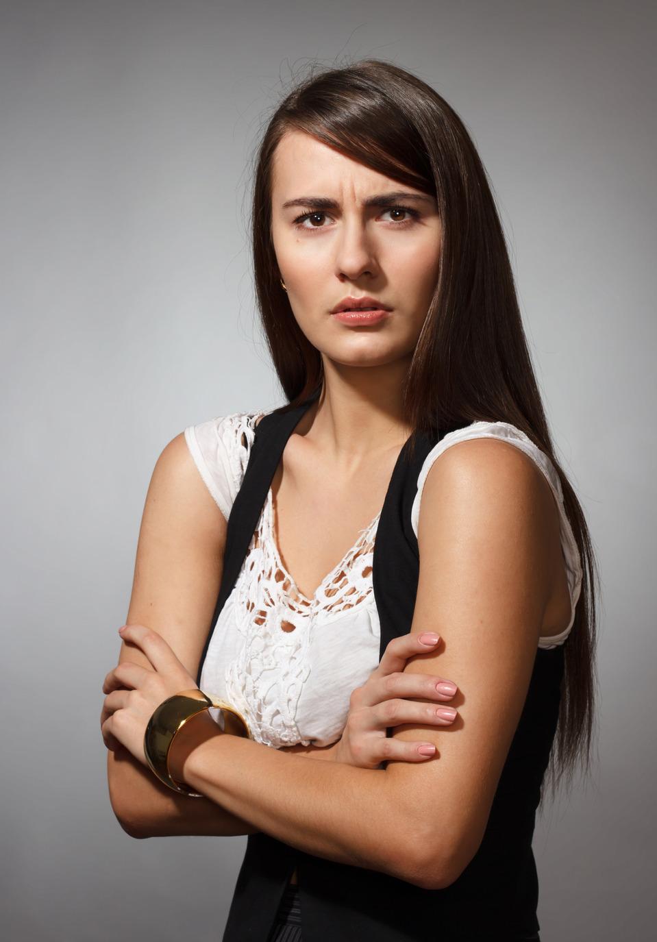 Indignation of a woman | portrait, model, woman, long hair, brunette, indignation, emotions, face