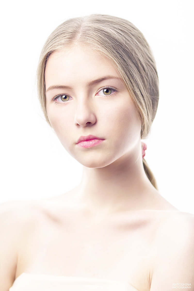 Innocent girl | portrait, model, girl, blonde, full-face portrait, white background, ponytail, bare-faced, naked, innocent