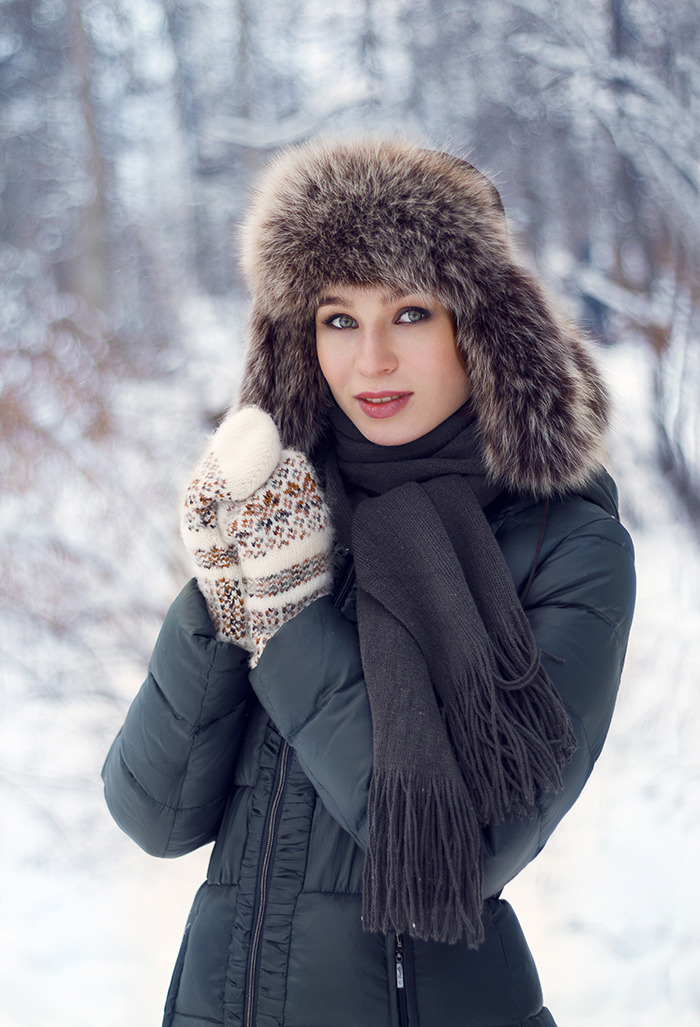Winter heat... | winter, snow, foret, cutie, environmental portrait