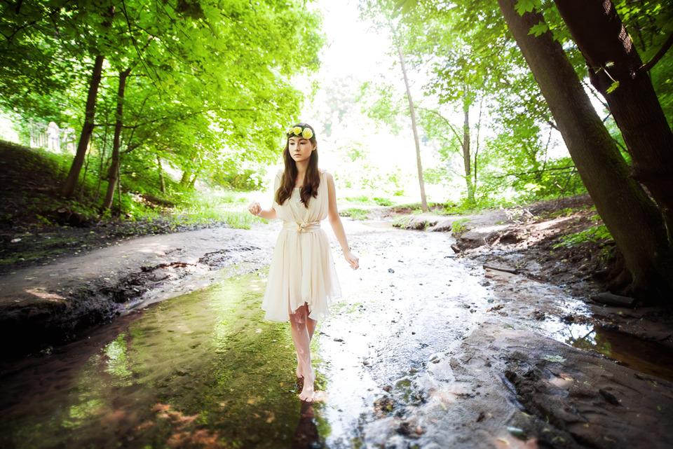 Chinese girl walking barefoot along the river | barefoot, river, fores, sky, sunlight, shore