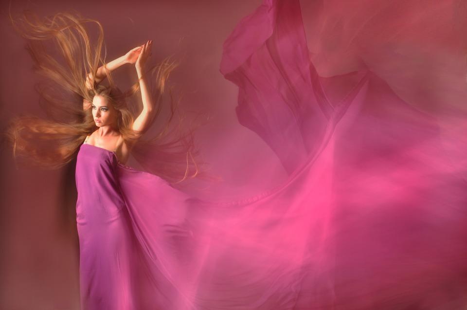 Silk | silk, redhead, pink silky scarf, dancer