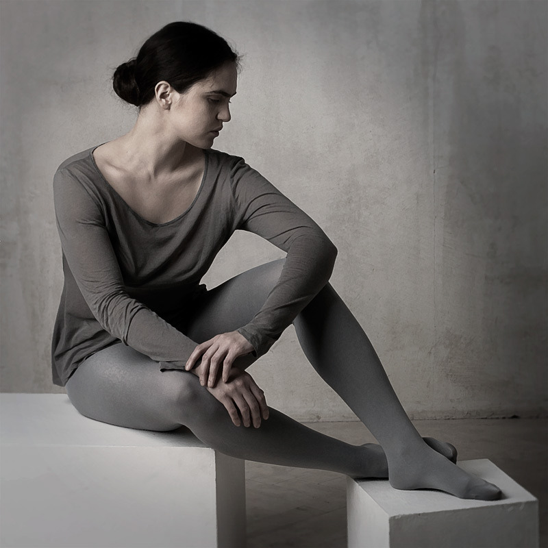 Girl in the studio | portrait, model, girl, grey, studio, cube, pose, brunette, tights