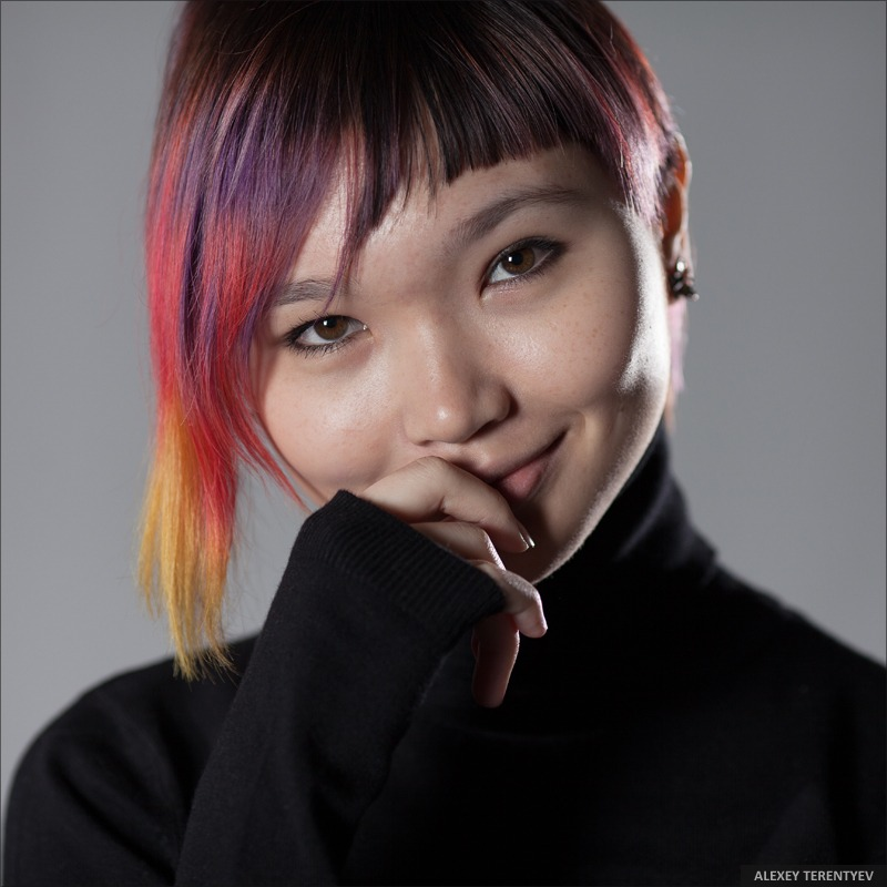 Cute girl | portrait, model, girl, colorful, natural, make-up, short hair, smile, Asian, black polo-neck