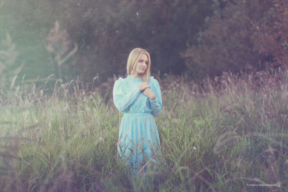 Pretty girl in the field | portrait, model, girl, blonde, long hair, field, grass, forest, blue dress, pretty