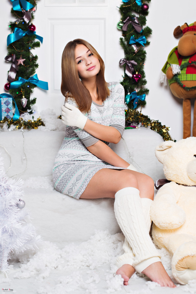 Pretty teen sitting on couch | couch, pretty girl, new year, teddy bear