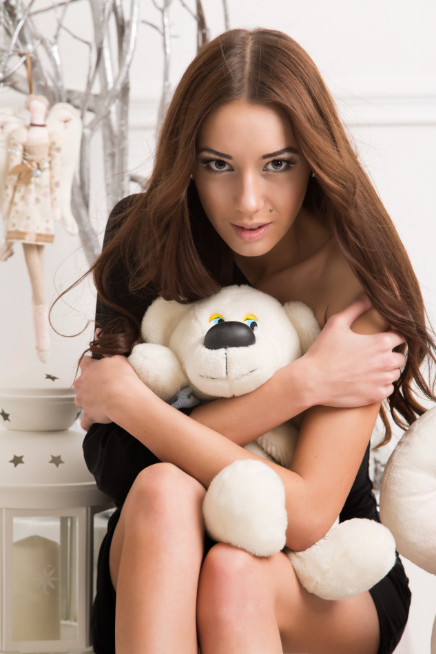 Pretty girl with teddy bear | teddy bear, pretty girl, long hair, short skirt