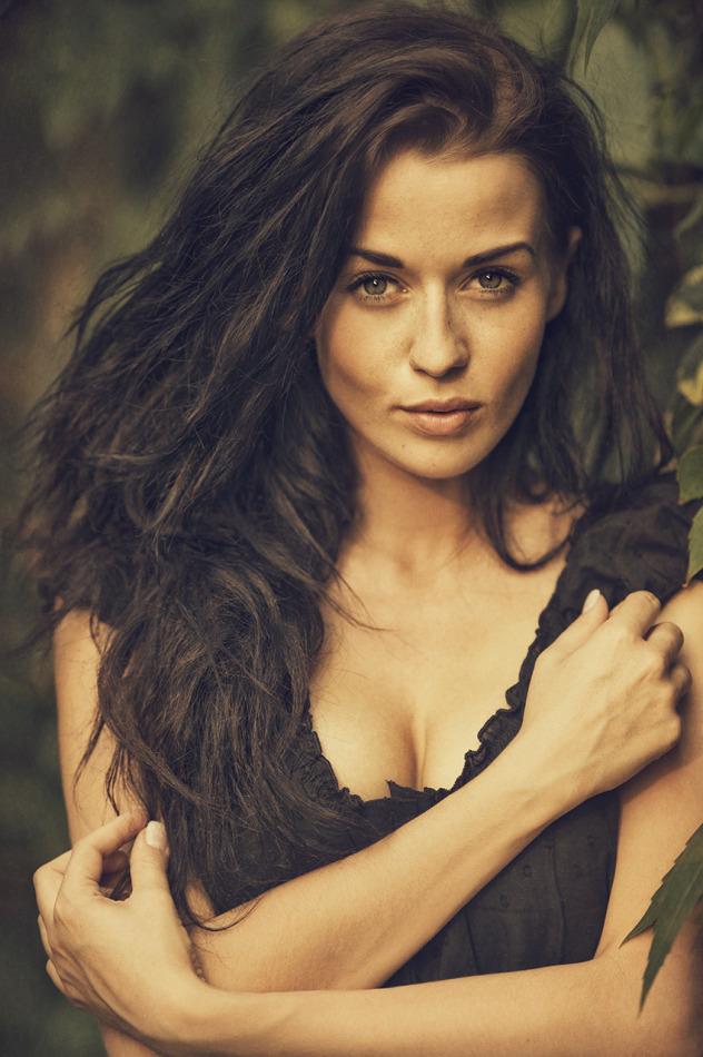 Busty hottie in black underwear   busty girl, hottie, wood, forest, nature, environmental portrait