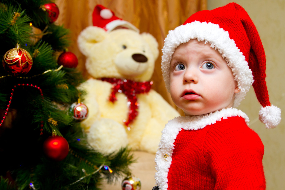 Little boy in the suit of the Santa | portrait, child, little boy, New Year, firtree, teddy bear, suit, Santa, holiday
