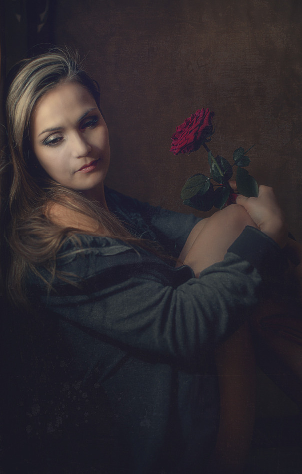 Girl with the rose | vintage, rose, blond, painting