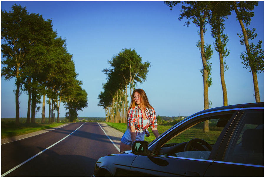 Beautiful girl and a car | portrait, model, girl, light-brown hair, long hair, car, street, sunny day, trees, skyline
