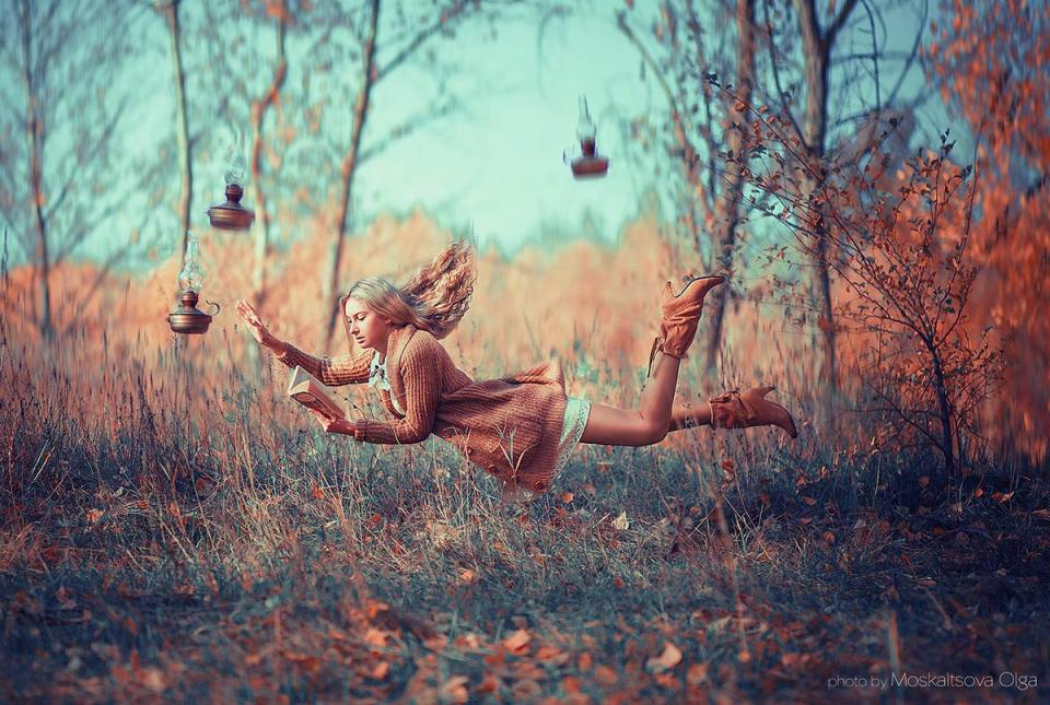 Flying girl | flight, levitation, forest, autumn