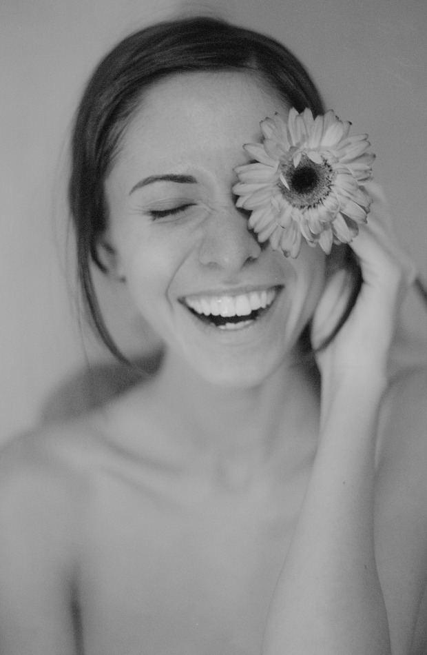 Gerbera makes you smile and laugh | laughing girl, gerbera, smile, perfect teeth, black & white