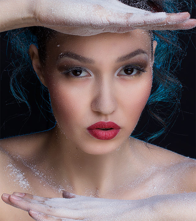 Girl in hoar-frost | portrait, model, girl, make-up, hoar-frost, red lipstick, naked, full-face portrait, hands, hair