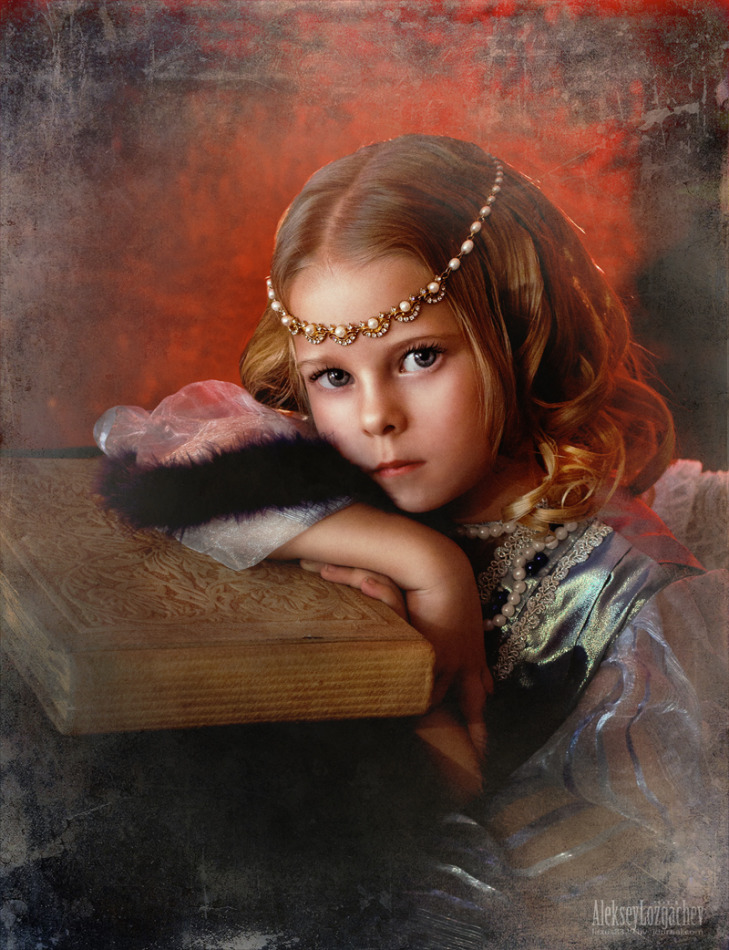 Old-fashioned look of a child | child, old-fashoned look, book, painting