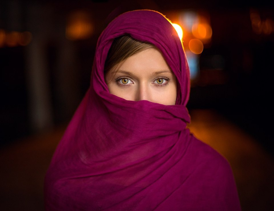 Girl in a kerchief   portrait, model, girl, eyes, natural make-up, kerchief, lilac, covered face, hair, blur