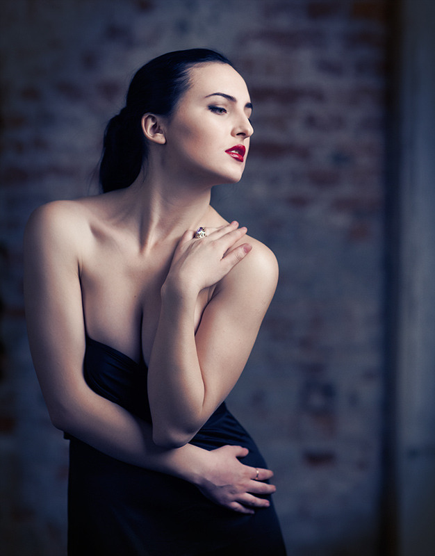 Pale ballet dancer with bright make-up | red lipstick, pale, ballet, stone wall