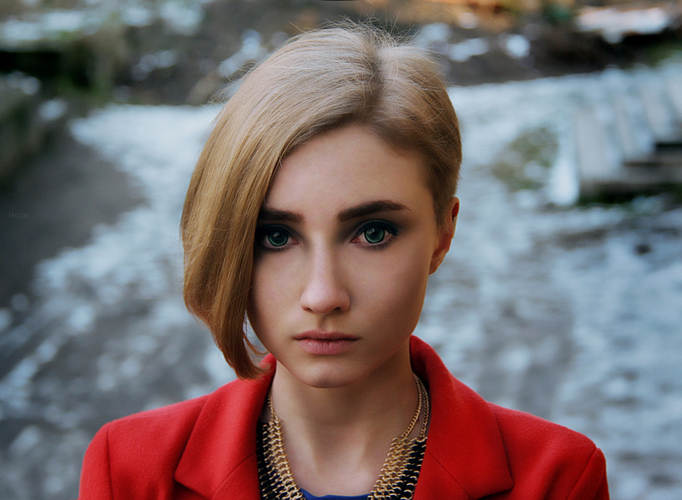 Sad girl | portrait, model, girl, blonde, short hair, green eyes, make-up, face, red jacket, sad