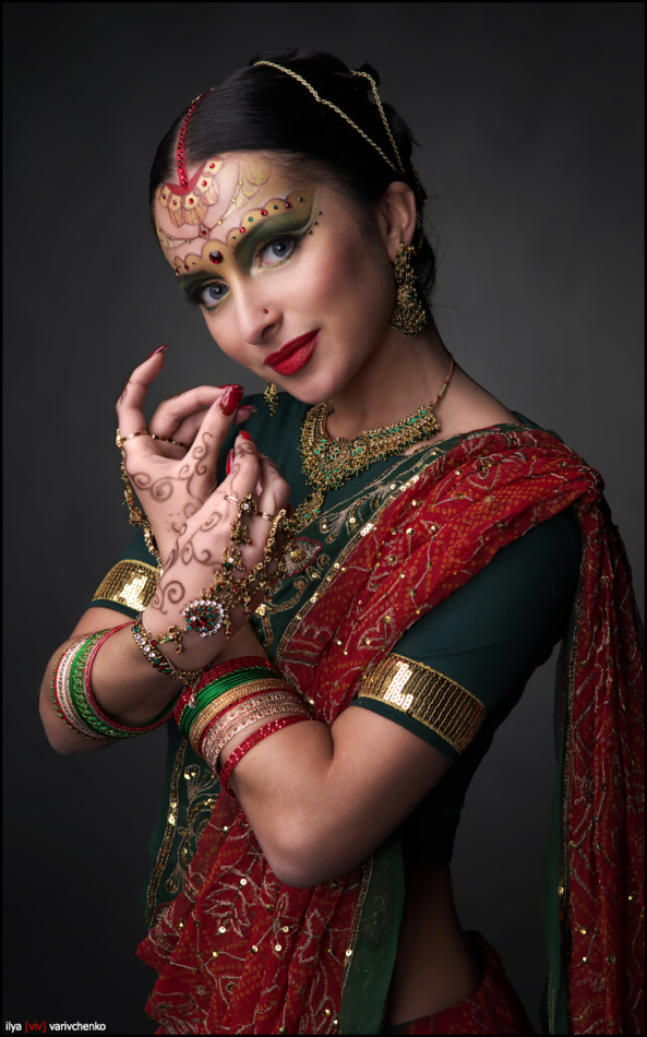 Beautiful Indian | portrait, model, woman, body art, brunette, make-up, dress, jewelry, Mehndi , Indian
