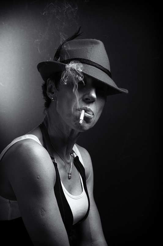 Woman with cigarette | portrait, woman, short hair , hat, smoke, cigarette, face, black & white, white top, pendant