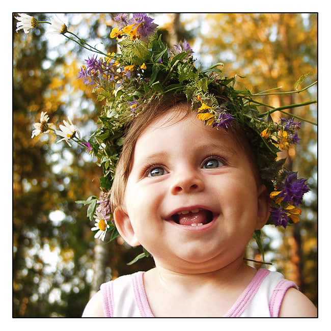Summer girl | child, emotion, nature, flower