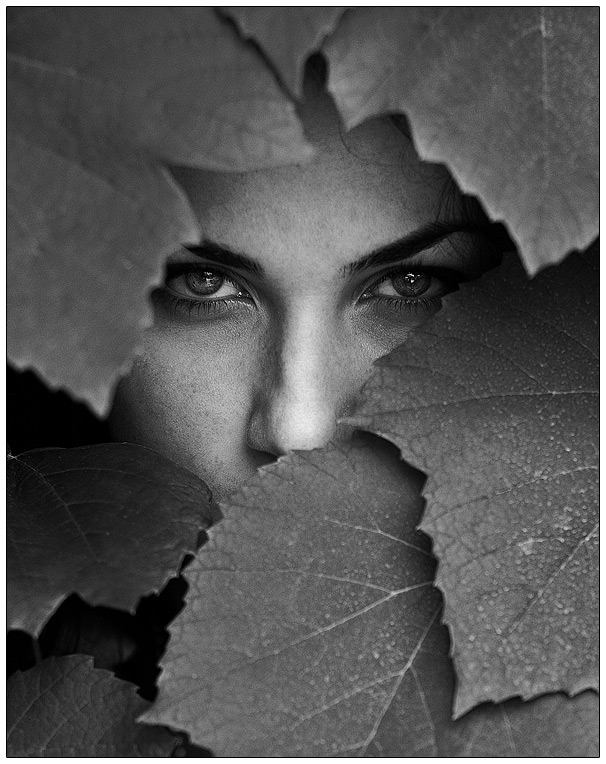 D.   woman, black and white, nature