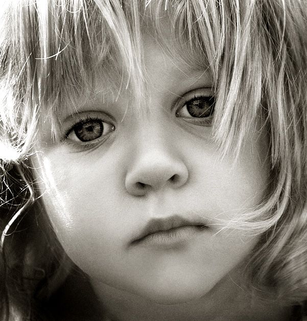 Little girl black and white blonde child